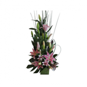 Arrangement of modern lilies and foliage