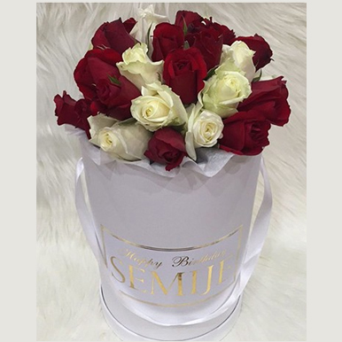 tranquil blooms Mixture of Red and White roses, with white box