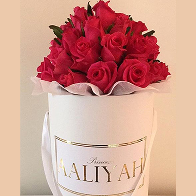 tranquil blooms Hot Pink roses white box