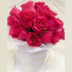 tranquil blooms Hot Pink roses white box 1