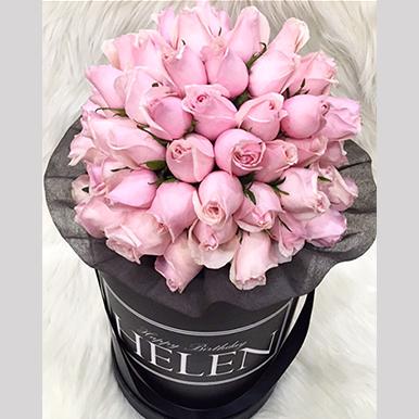 tranquil blooms Blush Pink Roses Black box 2