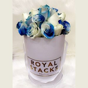 tranquil blooms TWO- TONE Blue and White Rose Box
