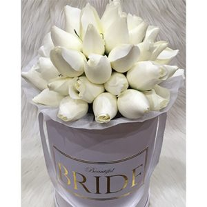 tranquil blooms WHITE roses white box