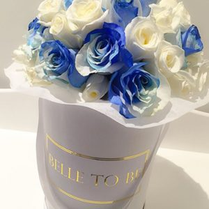 tranquil blooms TWO- TONE Blue and White Rose Box 1