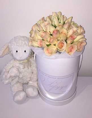 tranquil blooms Personalised rose box with teddy