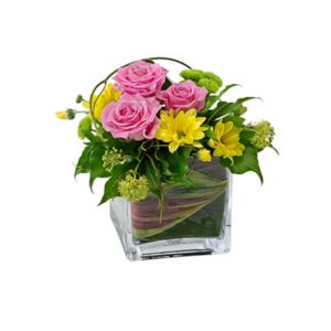 tranquil blooms Joy - Mixed Arrangements in a Glass Cube