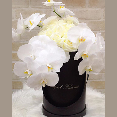 tranquil blooms Orchid and Rose Personalised Box
