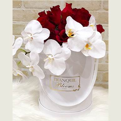 tranquil blooms Red Roses 0rchid Box