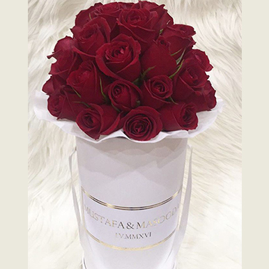 tranquil blooms Red Roses White Box