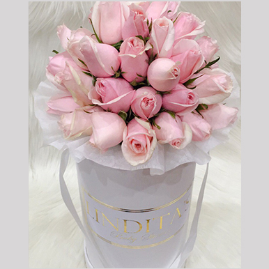tranquil blooms Blush Pink Roses White Box