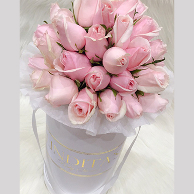 tranquil blooms Blush Pink Roses White Box 1