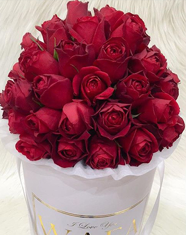 tranquil blooms Red Roses White Box 1