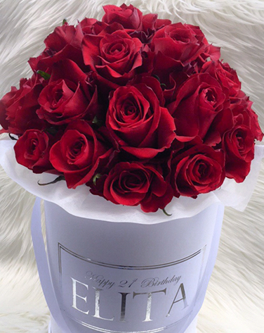 tranquil blooms Red Roses White Box 3