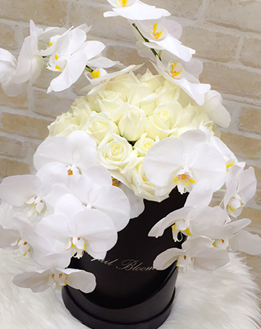 flowers for wedding orchid and white roses black box tranquil blooms