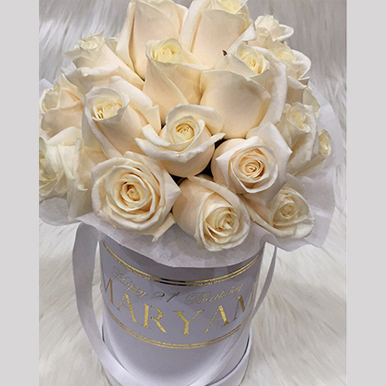 tranquil blooms Champagne Roses White Box 2